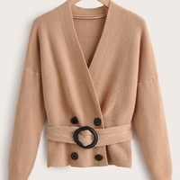 Ribbed Knit Double Breasted Belted Cardigan