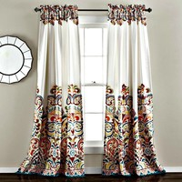 Sirina Boho Moroccan Paisley Floral Window Curtain Panel SET