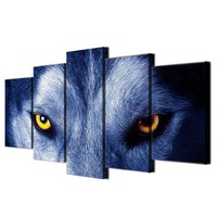 Wolf Eyes 5 Pcs Panel Wall Art on Canvas Print Picture  room decor print poster
