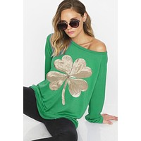 Sequined Shamrock Top - Green