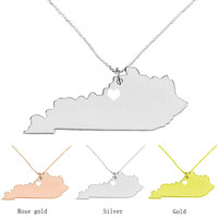 I Heart Kentucky Necklace Map Jewelry KY State Charm Love Necklace
