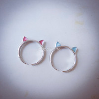 cat ring, kitty cat ring, cat ears ring, knuckle ring, pinky ring in gold or silver