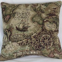 Old World Map Pillow Cover, Tapestry