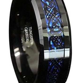 CERTIFIED 8mm Black Tungsten Carbide Celtic Dragon Blue Carbon Fibre Wedding Band
