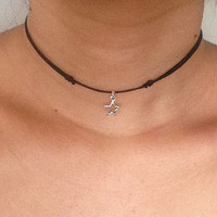 Handmade Star Charm Choker Necklace - Adjustable Waxed Cotton Cord