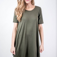 Olive Short Sleeve Shift Dress