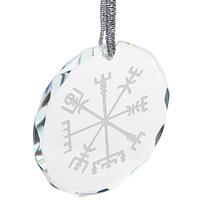 Christmas Viking Vegvisir Storm Compass Etched Round Crystal Ornament