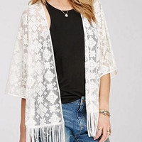 White Mesh Embroidery Tassel Sleeve Top