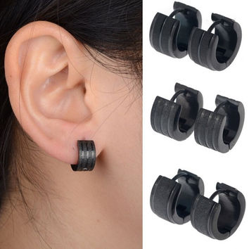 Fashion Gothic Punk 1 Pair Stainless Steel Mens Stud Earrings Frosted Jewelry black