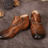 Dwarves Handmade Retro Leather Ankle Boots Metal Chain Decorated Camel