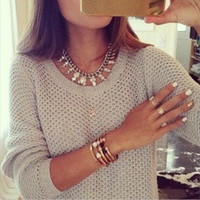 Sexy Womens Casual Autumn Long Sleeve Crochet Knitted Sweater Tops Blouse [8383800455]