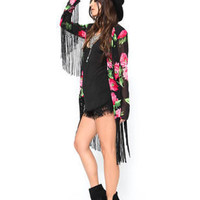 Floral Print  Cardigan with Tassel