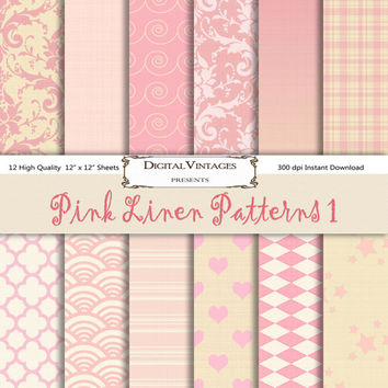 Pink Digital Paper, shabby chic, digital paper, pastel digital paper, shabby digital paper, pink linen, shabby pink, plaid, ombre, damask,