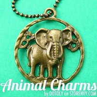 Realistic Elephant Cut Out Animal Pendant Necklace in Bronze on SALE