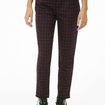 High-Rise Plaid Pants