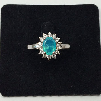 Stunning Natural Earth Mined Ethiopian Blue Opal and Natural White Topaz Ring in Sterling Silver – 29029