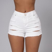 Fashion Distressed Crisscross Ripped Tight Shorts