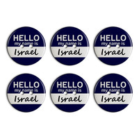 Israel Hello My Name Is Plastic Resin Button Set of 6
