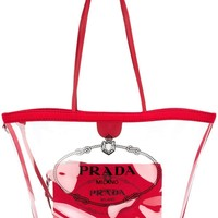 Accent Red Transparent Tote by Prada