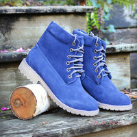 Follow In My Footsteps Navy Hiker Boots