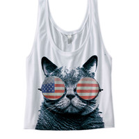 USA KITTEN CROP TOP AMERICAN FLAG CAT WEARING GLASSES I LOVE KITTENS GREAT GIFTS JULY 4TH SHIRTS COOL KITTY CAT SHIRTS FUNNY SHIRTS HOLIDAY SHIRTS