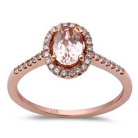 0.78tcw Oval Morganite & Diamond Accents in 14K Rose Gold Halo Engagement Women's Ring