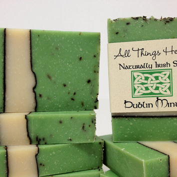 Irish Soap - Dublin Mint - celebrate all things Irish- handmade natural soap - St Patrick's Day