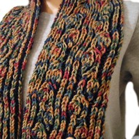 Hand Knit Autumn Scarf   Cathy Creates - Handmade knit and crochet accessories and apparel