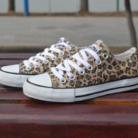 Converse Fashion Leopard Canvas Flats Sneakers Sport Shoes