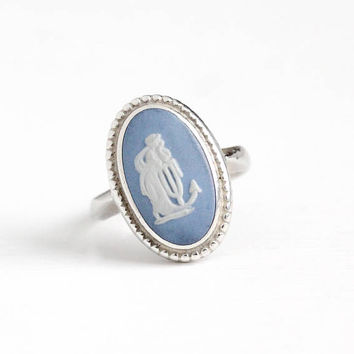 Vintage Wedgwood Sterling Silver Hope & Anchor English Cameo Ring - Size 6 1/4 Oval Blue Jasperware Neoclassical Made in England Jewelry
