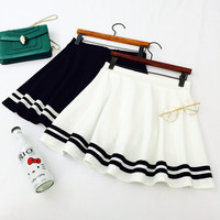 Mori girls Japanese style navy white black stripe a-line skirt, Lolita sailor skirt, Cosplay costumes, Japan school uniform