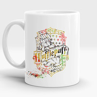 Hufflepuff mug, Qualities Students of this house, Harry Potter gift, Houses crest, Watercolor Art Cup