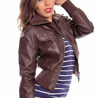 BROWN FAUX LEATHER RIBBED DETAIL COLLARED JACKET