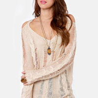 Right Said Shred Beige Sweater