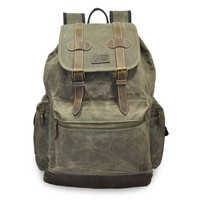 Mato Canvas Backpack Travel Hiking Rucksack Vintage Laptop School Bag Green Bookbag