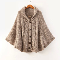 Brown Long-Sleeve Button Knitted Cape Cardigan