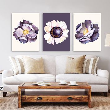 Purple WATERCOLOR Poppy Flower Wall Art, Watercolor Flower Bedroom Pictures, Purple Floral Watercolor Wall Decor, Set of 3 Canvas or Print