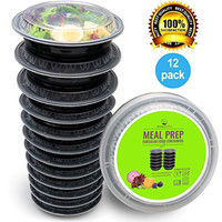 Round Meal Prep Containers Set - Portion Control Bento Box- Food Storage / Restaurant Foodsavers - 12pk