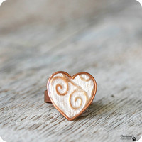 Adjustable Ring - Pearly white heart