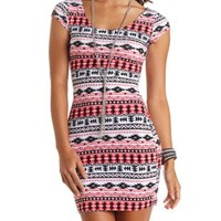 Cap Sleeve Tribal Print Bodycon Dress - White Combo