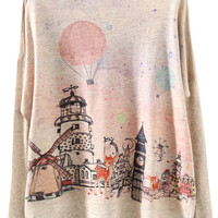 Apricot Long Sleeve Building Print Loose Sweater - Sheinside.com