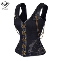 Steampunk Corset Gothic Leather Corset Corsages Sexy Corsage  Corselet Corsets Steel Straitjacket Bodice Waste Trainer