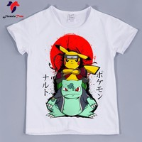 Naruto Sasauke ninja 2018 Boys/Girls  Pikachu In Thor Armor Design Funny T-Shirt Children Baby Pokemon Go Anime Clothes Kids Summer Tops Tee AT_81_8
