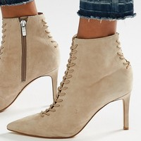 Kendall & Kylie Beige Suede Point Stiletto Lace Up Boot