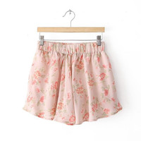 Summer Women's Fashion Chiffon Floral Print Dress Pants Casual Shorts [4917820932]