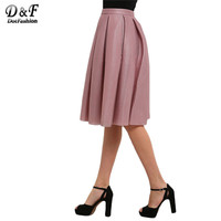 Dotfashion Ladies Summer/Spring Style Pink High Waist Pleated Flare Skirts Casual New Arrival 2016 Women Skirt