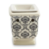 Ceramic Plug-In Fragrance Wax Warmer - Ivory Damask