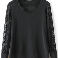 Black Scalloped Neckline Sheer Lace Sleeve Blouse