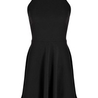 Vicky Strappy Back Textured Skater Dress
