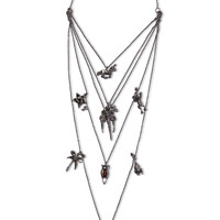 Valentino - Burnished silver-tone necklace